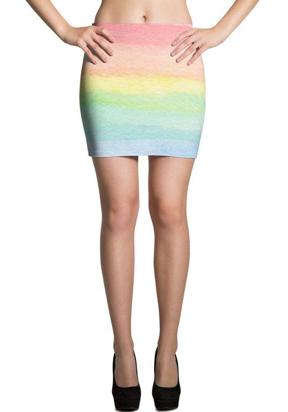 705efea08971 Rainbow Mini Skirt Pastel, Ombre Rainbow Skirt Tight, Rainbow Clothing  Womens, Rainbow Outfit Women,