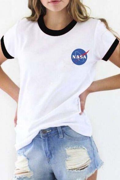 7c26affae Contrast Trim NASA Logo Print Short Sleeve Tee with Round Neck | For ...