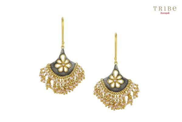55eaac10b Buy silver dual tone flower pearl droplet earrings online in USA by  Amrapali. Adorn your Indian traditional look with an exquisite range of  Indian silver ...