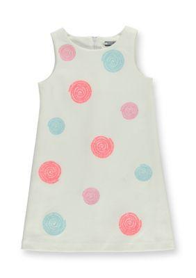 Hartstrings  Sleeveless Sequin Dot Ponte Dress Toddler Girls