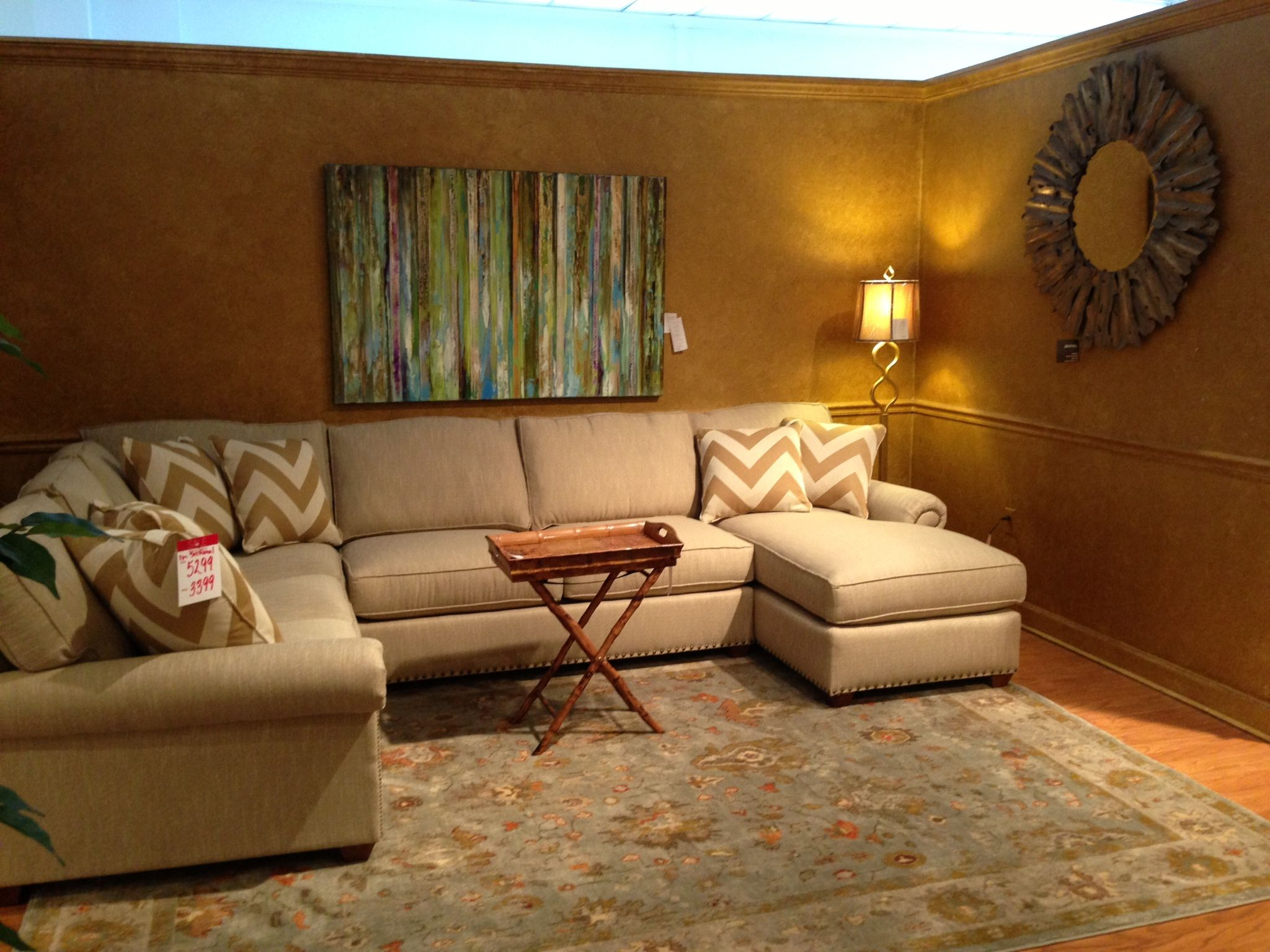 Sectional with chevron pillows