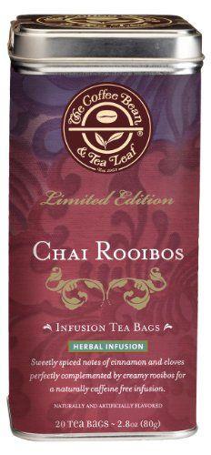 19 The Coffee Bean Tea Leaf Chai Rooibos Herbal Tea Sweet Creamy Delicately Spiced Caffeine Free 20 Count F Rooibos Tea Tea Leaves Gourmet Coffee Beans