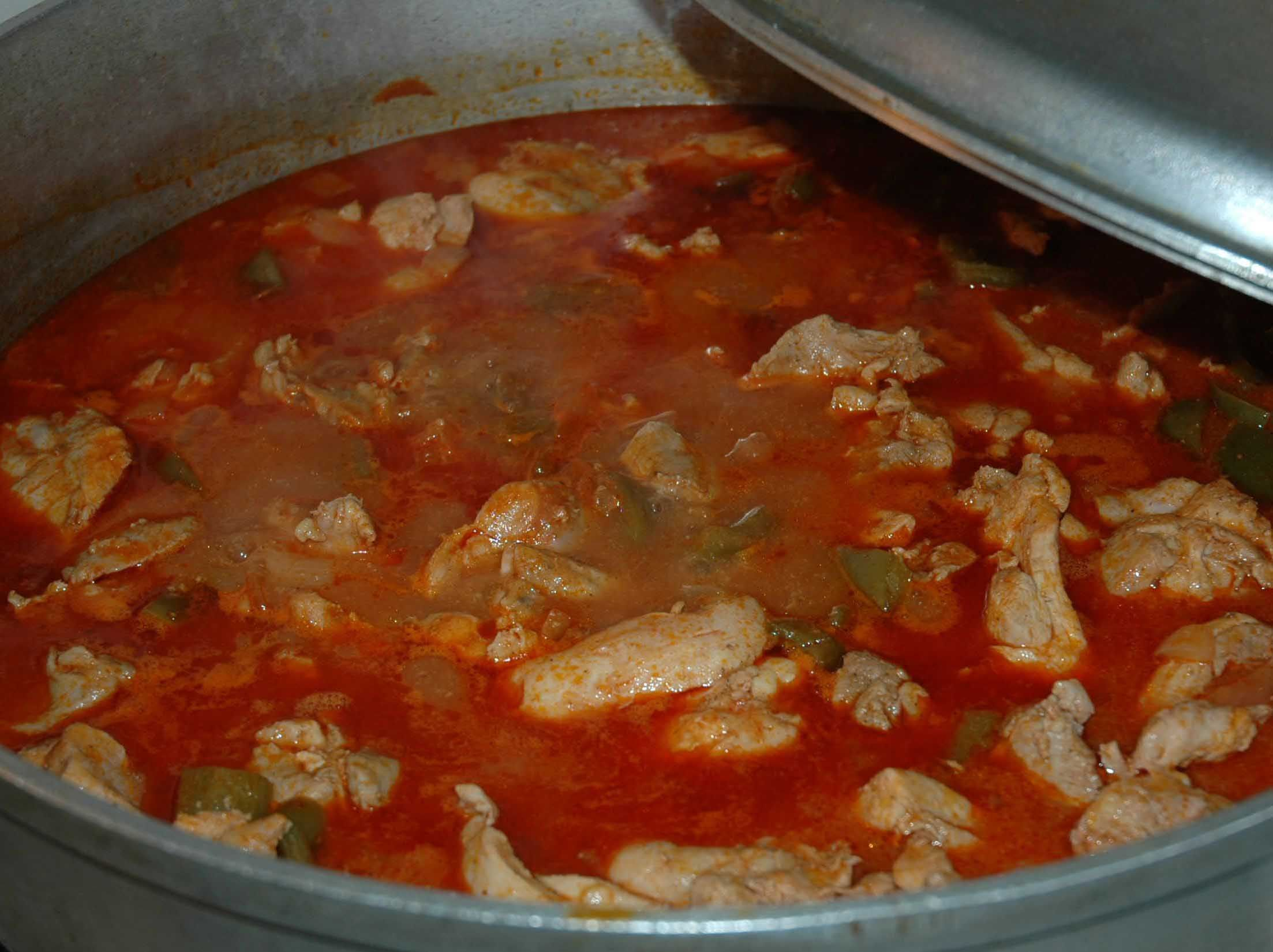 Chicken fricasse still warming up in the pot!  Mmmm!  Check out muchogusto.com for the recipe and more information about To Cook Is to Love.  #chickenfricasse #tocookistolove #cubanfood #cubanrecipes