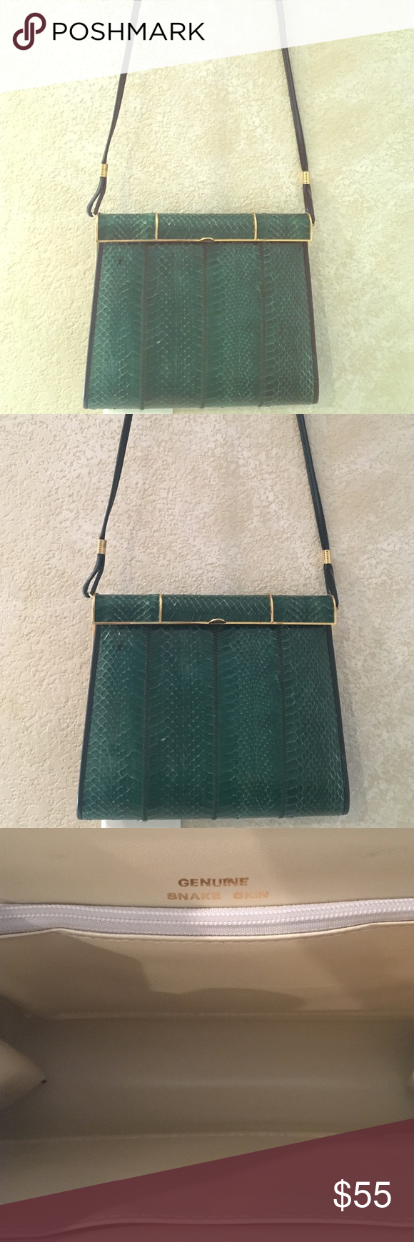 """Green SNAKE SKIN bag 8x7 genuine snake skin bag with 40"""" strap. Snap closure. Inside perfect. Outside has a few scrapes ( last pic). BEAUTIFUL ‼️ Bags Shoulder Bags"""