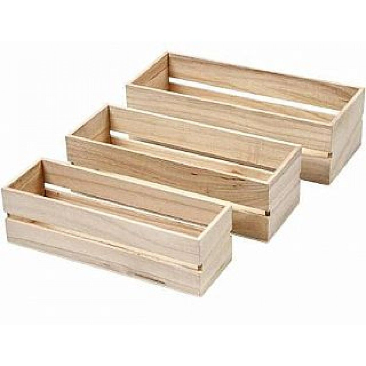 Wooden Craft Boxes To Decorate Three Nesting Fruit Crate Style Wood Boxes To Decorate  Kitchen