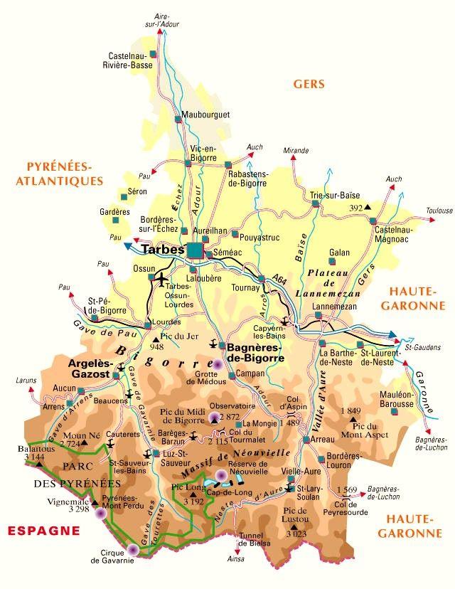 Carte Du Departement N 65 Hautes Pyrenees En 2020 Hautes