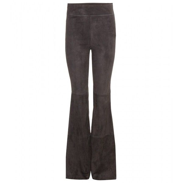 Dorothee Schumacher Flared Suede Trousers ($1,680) ❤ liked on Polyvore featuring pants, grey, flared trousers, grey trousers, suede pants, flare trousers and flare pants