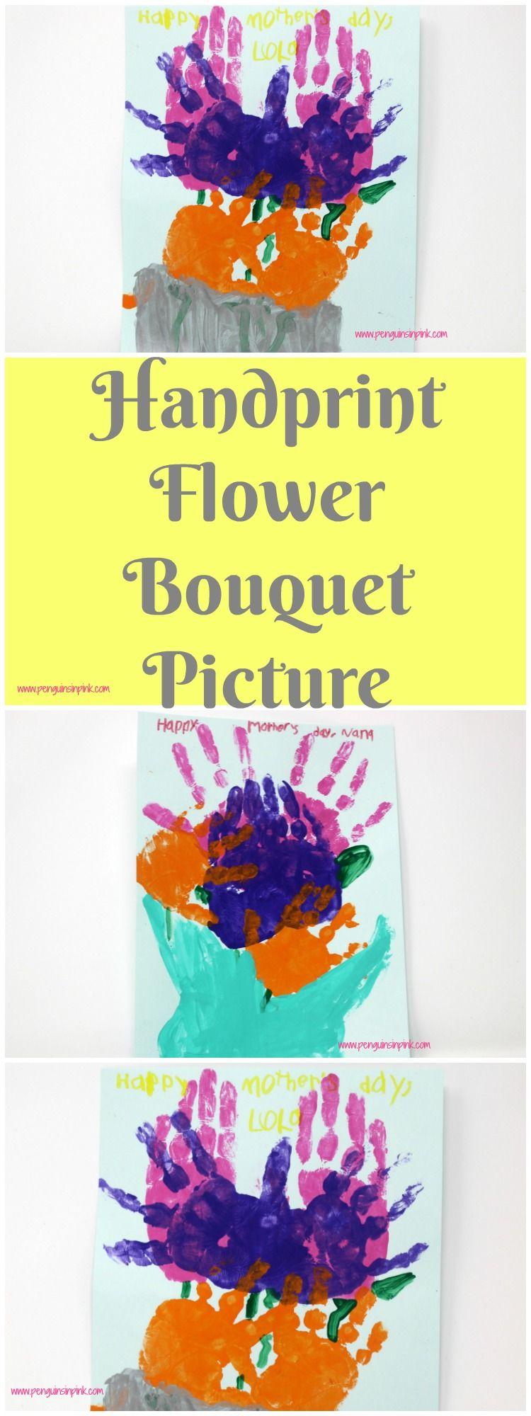 Handprint Flower Bouquet Picture Flower bouquet pictures