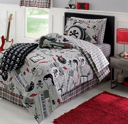 Amazon Com Rock Star Guitar Keyboard Skull Twin Comforter Set 6 Piece Bed In A Bag Home Ki Twin Comforter Sets Full Comforter Sets Bed Comforter Sets