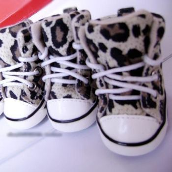 Adorable Puppy Sneakers Pet Shoes Cute Dog Footwear Styles BEIGE LEOPARD Print