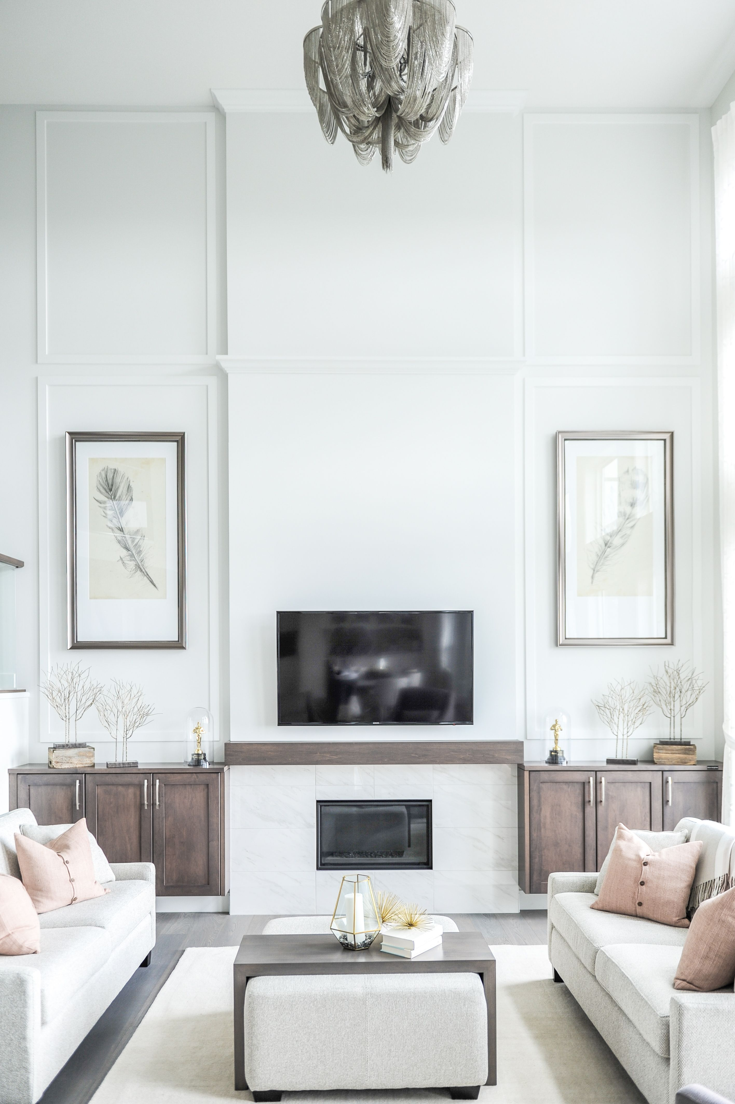 Soft Grey Calming Living Room Wall Moulding Tall Ceiling Living Room Wall Molding Living Room Wall