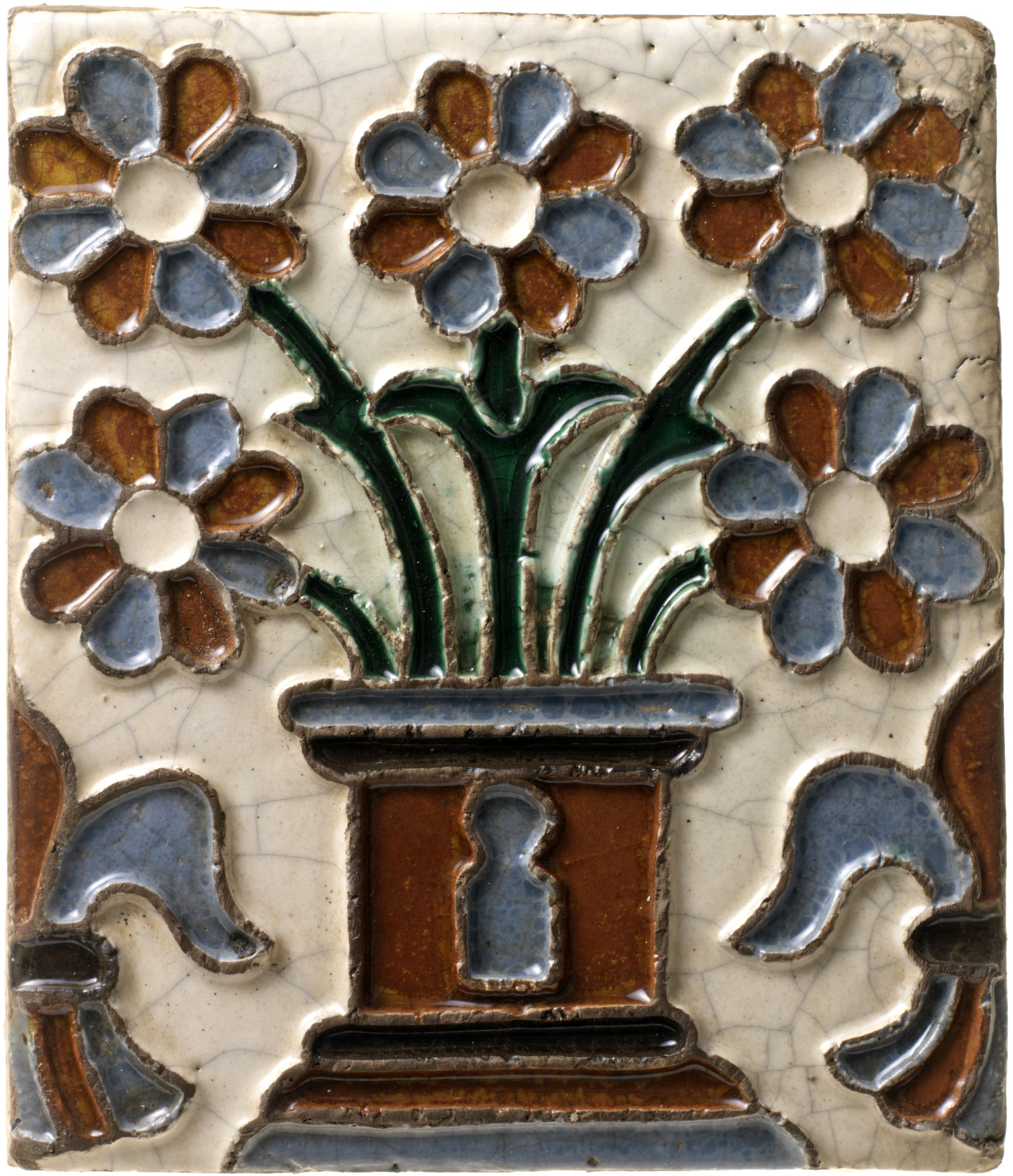 Spanish Antique Reproduction Of Arista Ceramic Tile From