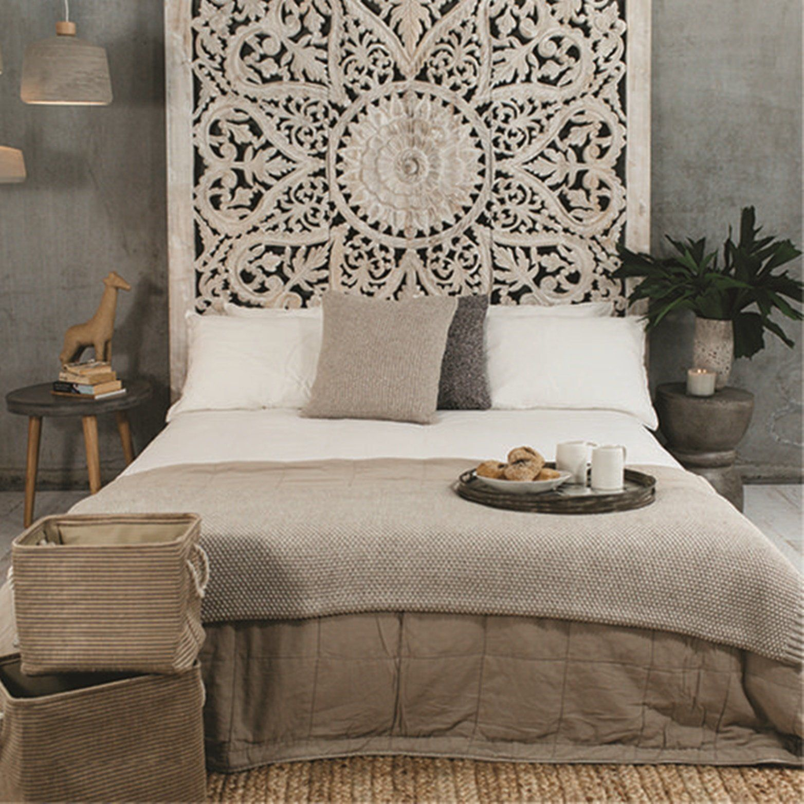 71 Large Wall Art King Size Bed Sculpture Bohemian Headboard Decorative Flower Mandala Wooden Hand Craved Teak Wood Panel White Farm House Living Room White Home Decor White Paneling