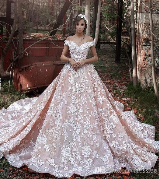 Blush Pink Lace Wedding Dress Short Sleeve Wedding Dress Wedding Dresses Lace Ball Gowns Wedding