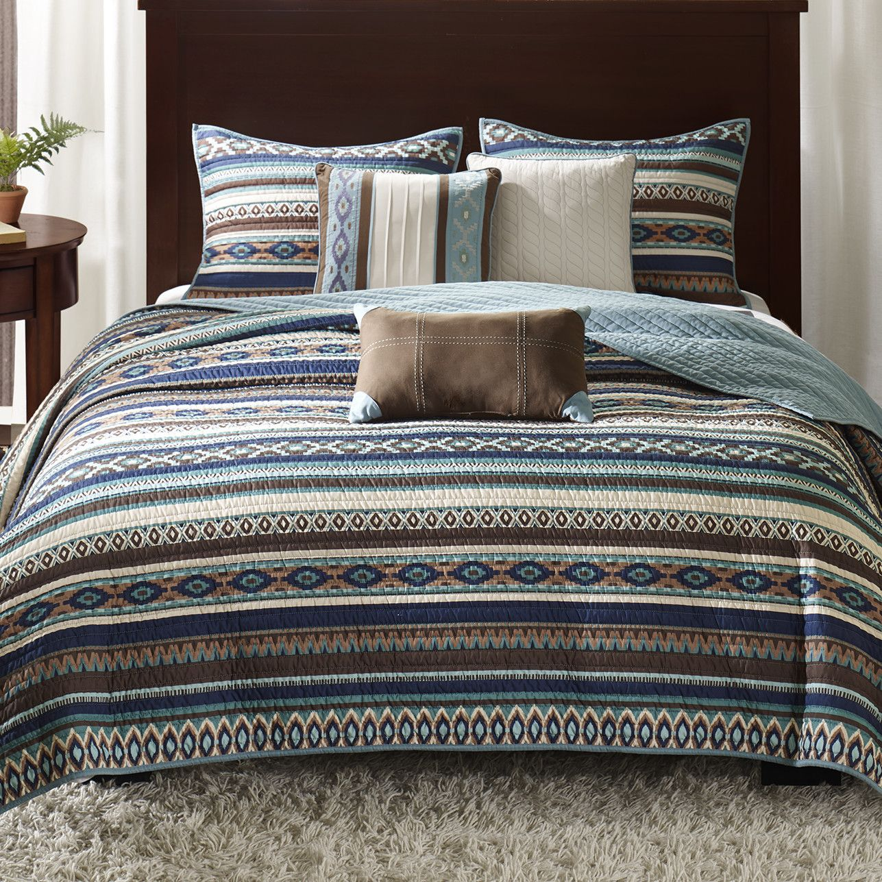 Madison Park Malone 6 Piece Quilted Coverlet Set Coverlet Set