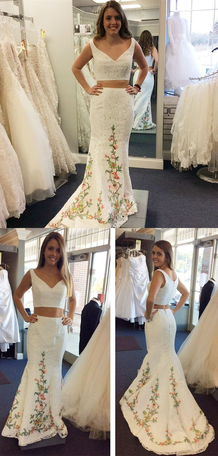 Two piece vneck sweep train white lace prom dress with appliques