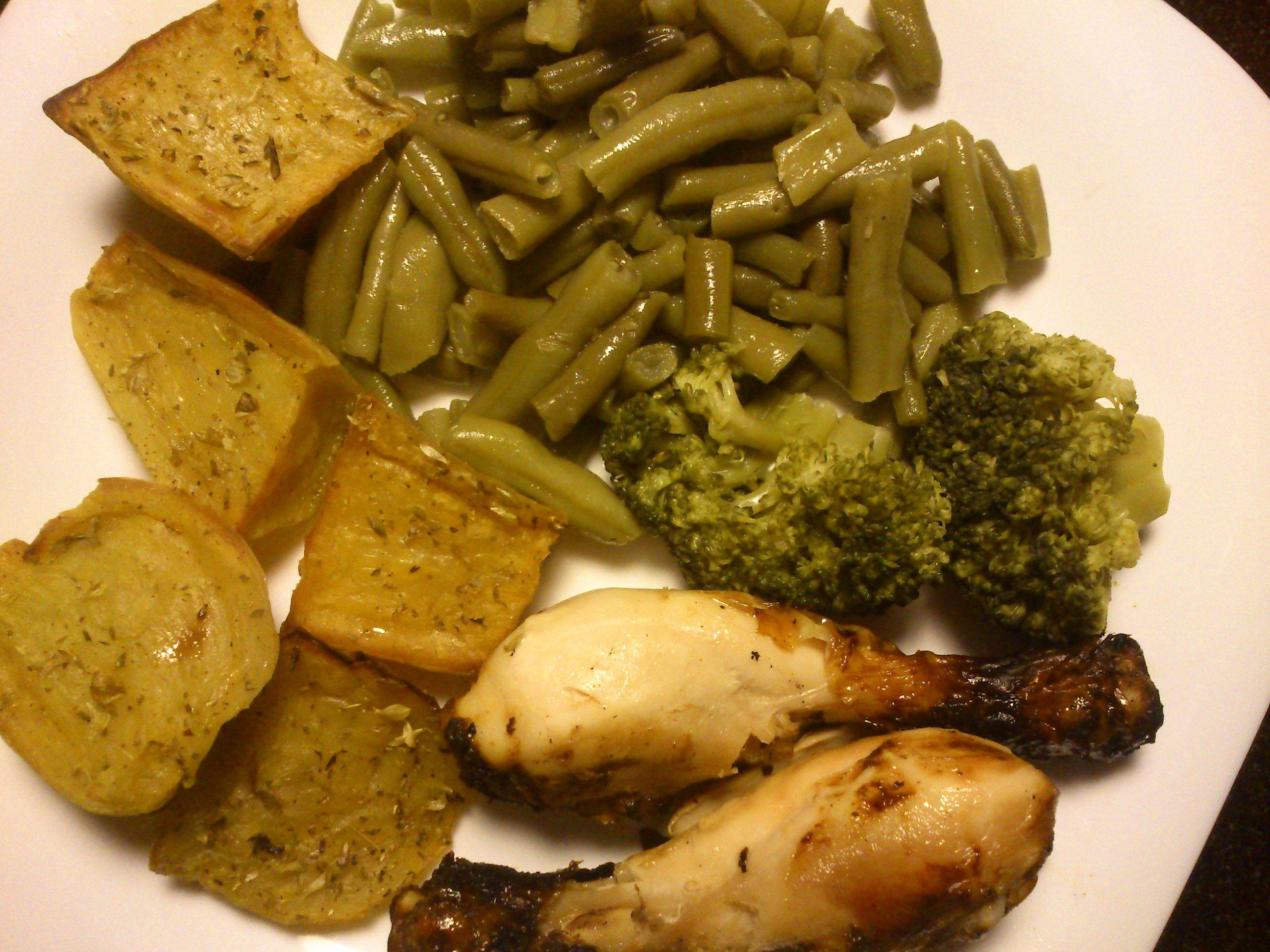batata doce + feijão verde + brócolis + frango grelhado