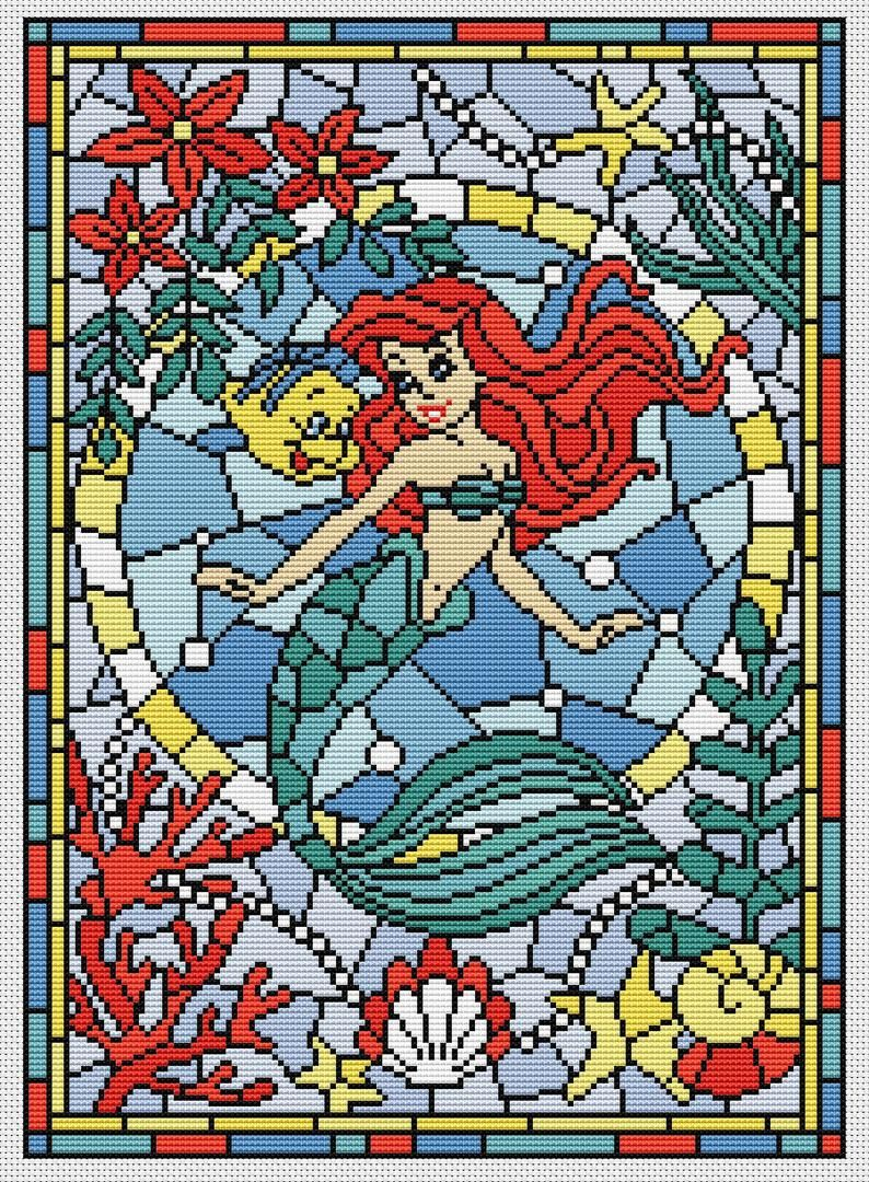 "Photo of Disney cross stitch pattern ""Ariel 2. The little mermaid "" in pdf. Stained glass cross stitch pattern. Modern cross stitch BUY 2 GET 1 FREE"