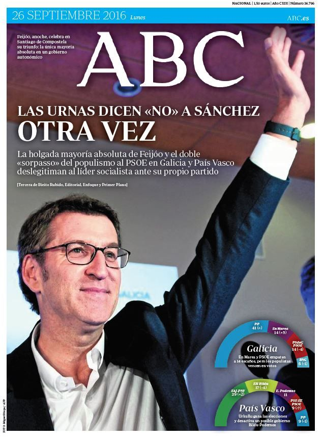 La Portada de ABC del lunes 26 de septiembre