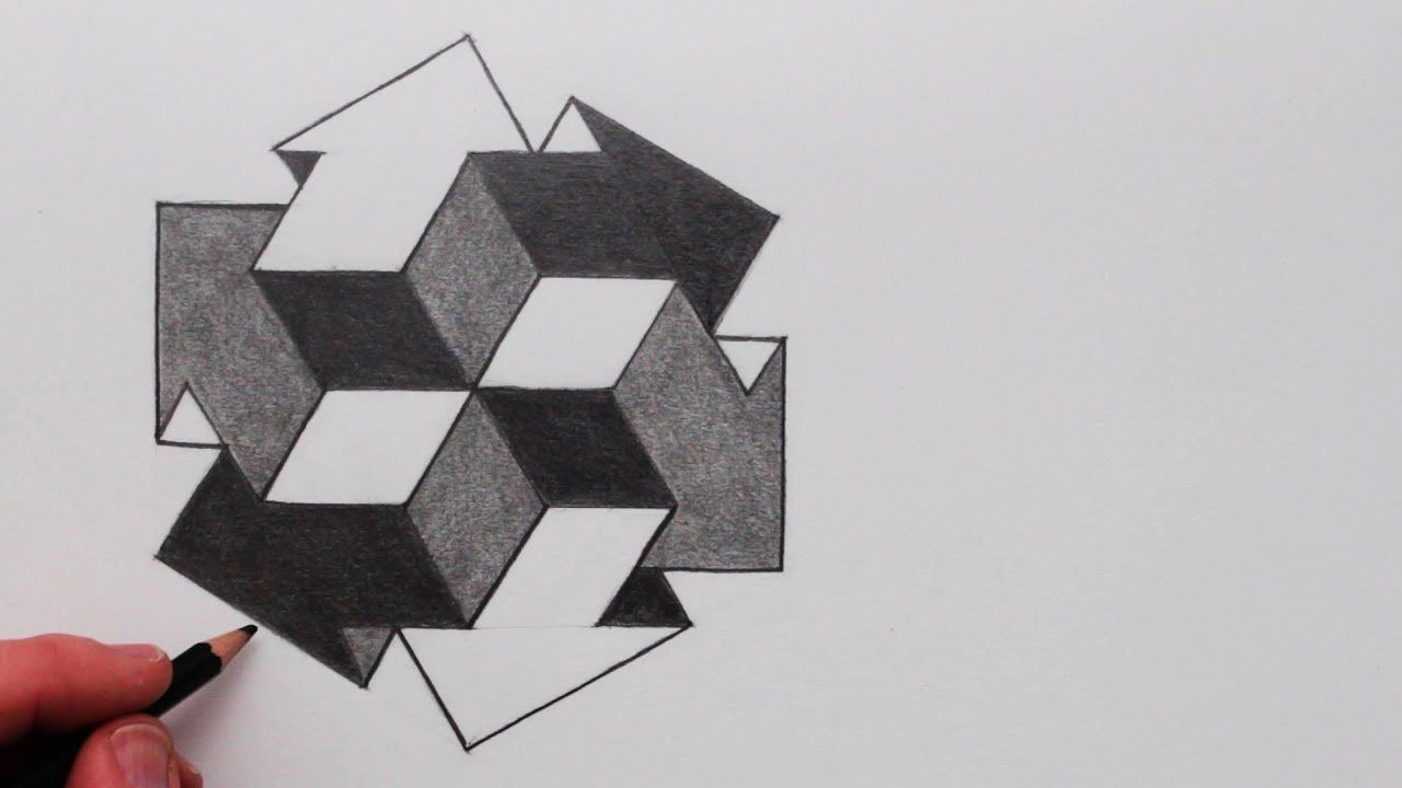 How To Draw 3d Cube Arrows Optical Illusion Narrated Step By Step