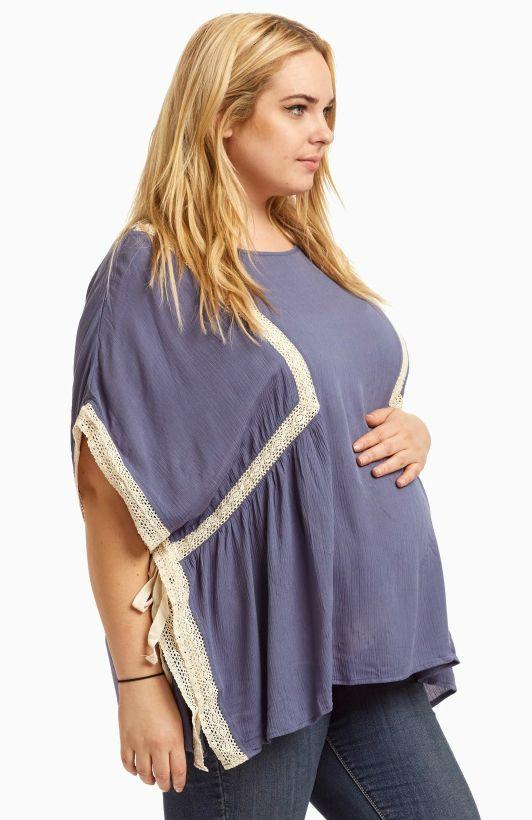 67309398c7b8e Blue Crochet Accent Tie Side Plus Size Blouse