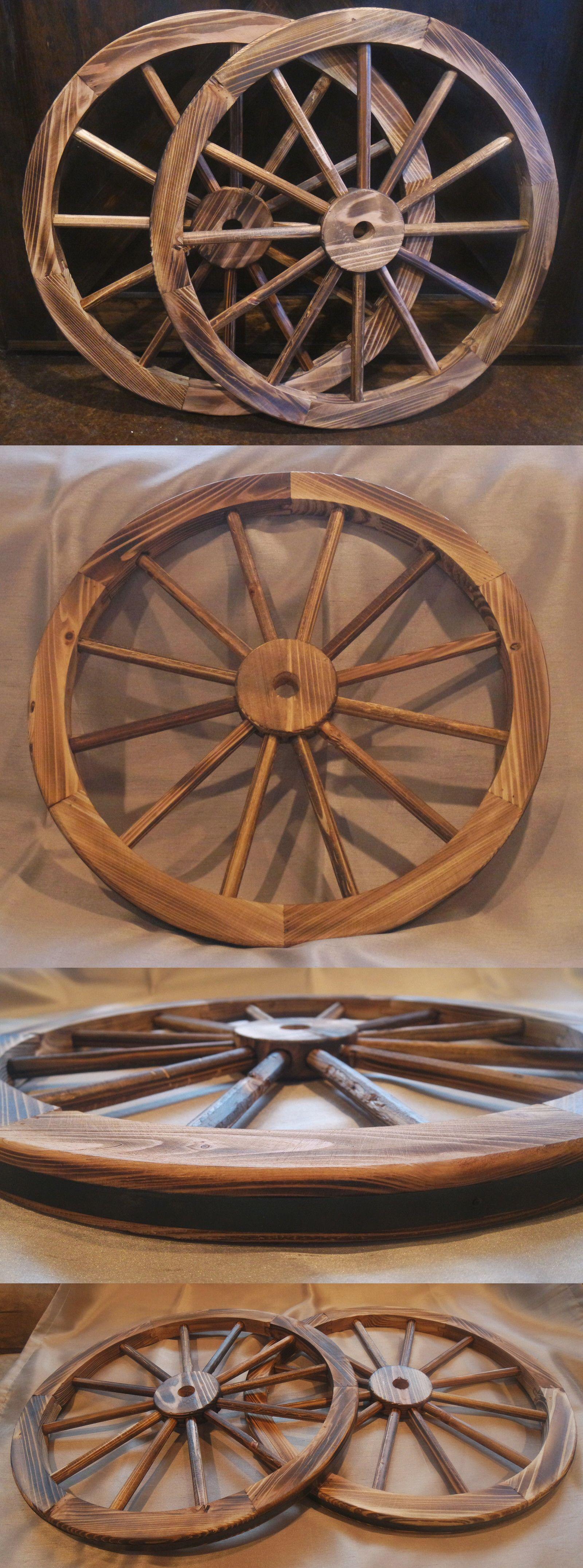 Other Garden D Cor 2034 2pk 24 Decorative Wooden Wagon Wheels Real