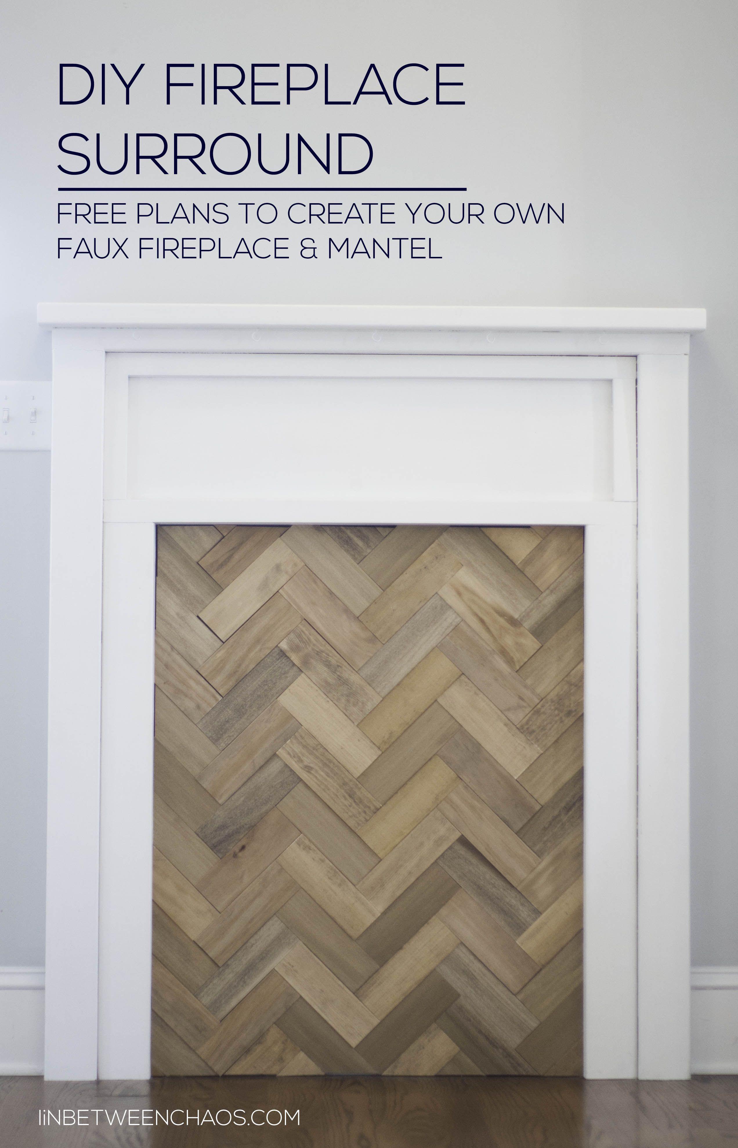 Diy Faux Fireplace With Herringbone Insert - Inbetweenchaoscom