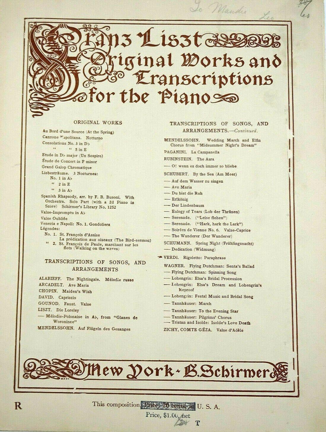Rigoletto Paraphrase Piano Solo Franz Liszt Vintage Sheet Music Scharfenberg Vintagesheetmusic 2020 Musical Paraphrases