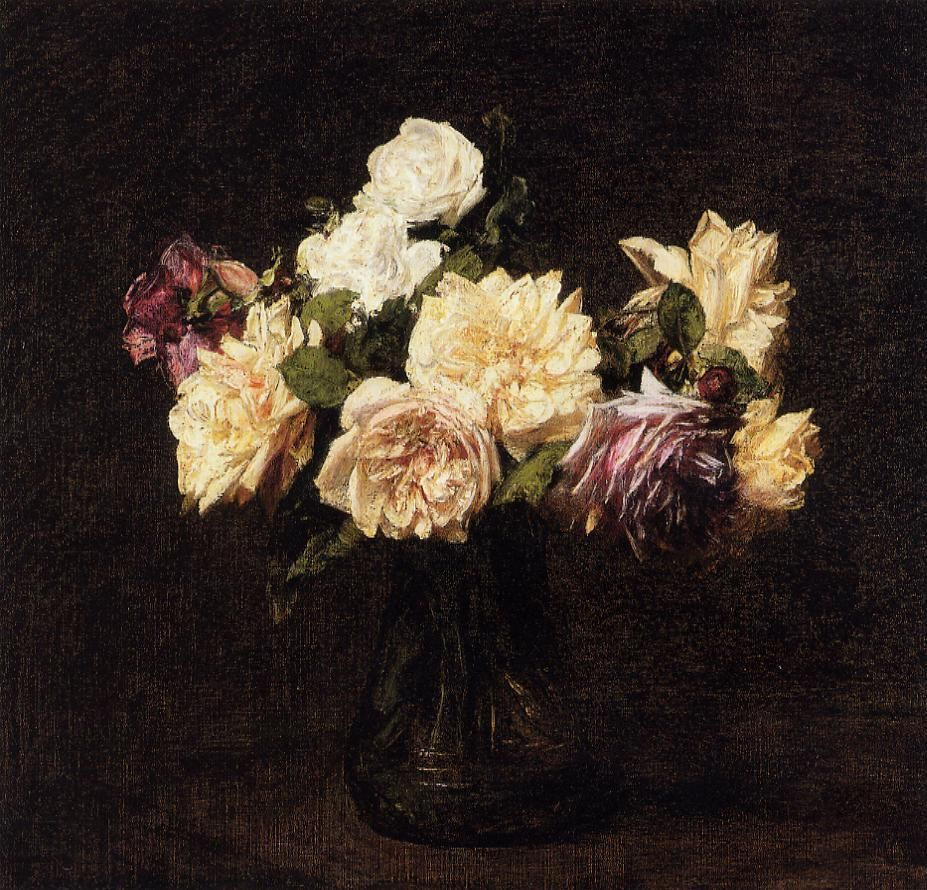 Roses - Henri Fantin-Latour - Completion Date: 1894 - Style: Realism - Genre: flower painting - Technique: oil - Material: canvas - Gallery: Private Collection - WikiArt.org