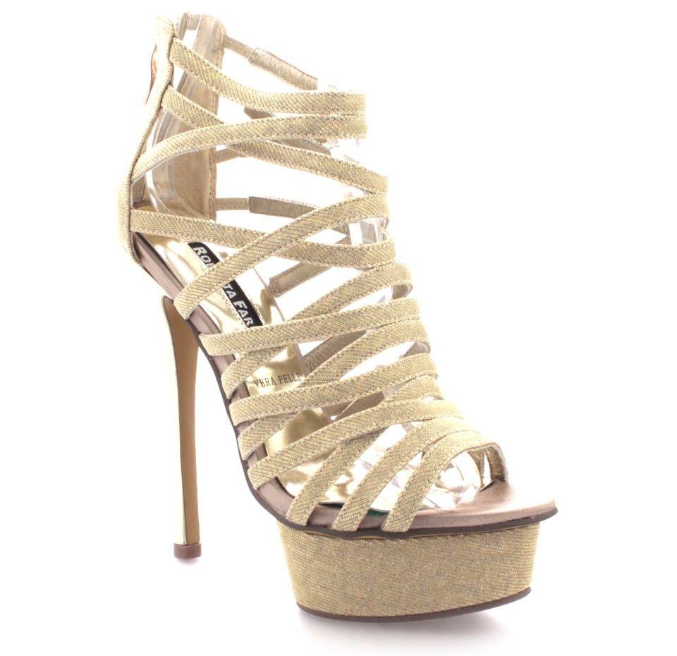 new style 2b2c0 f4302 Sandali stingati Roberta Farc | Kira - Oro | Shoes | Fashion ...