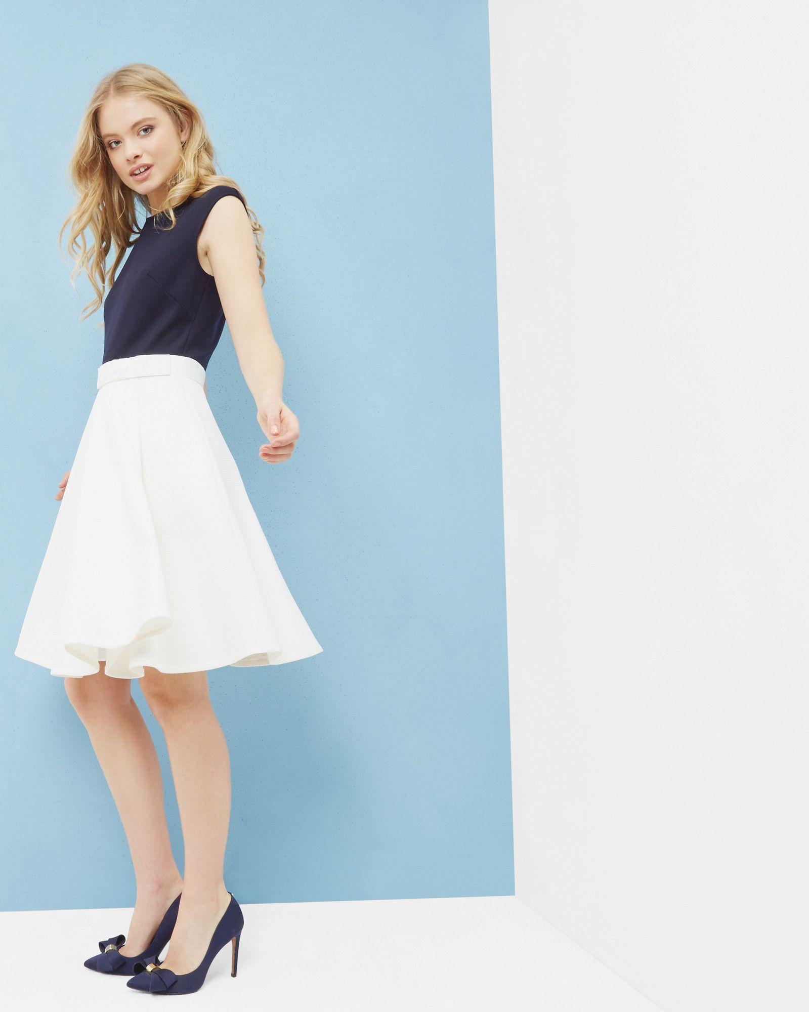 Dark Blue White Bow Dress