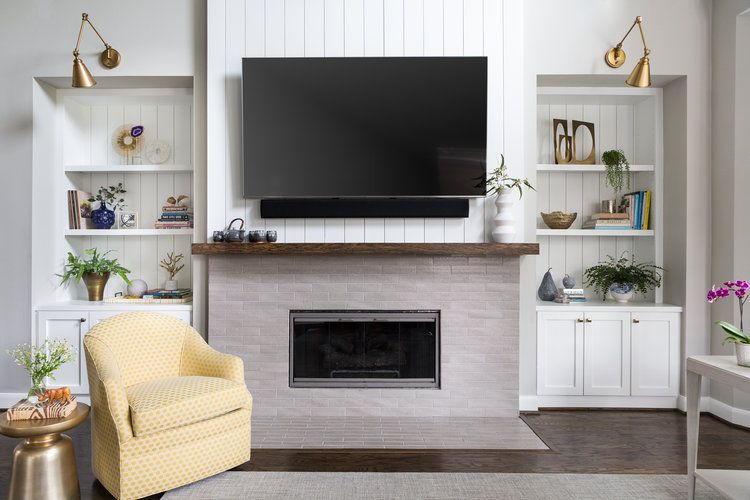 Before And After A Fresh Light Family Friendly Home Makeover Designed White Paint Colors Tv Over Fireplace White Paneling #vertical #shiplap #living #room