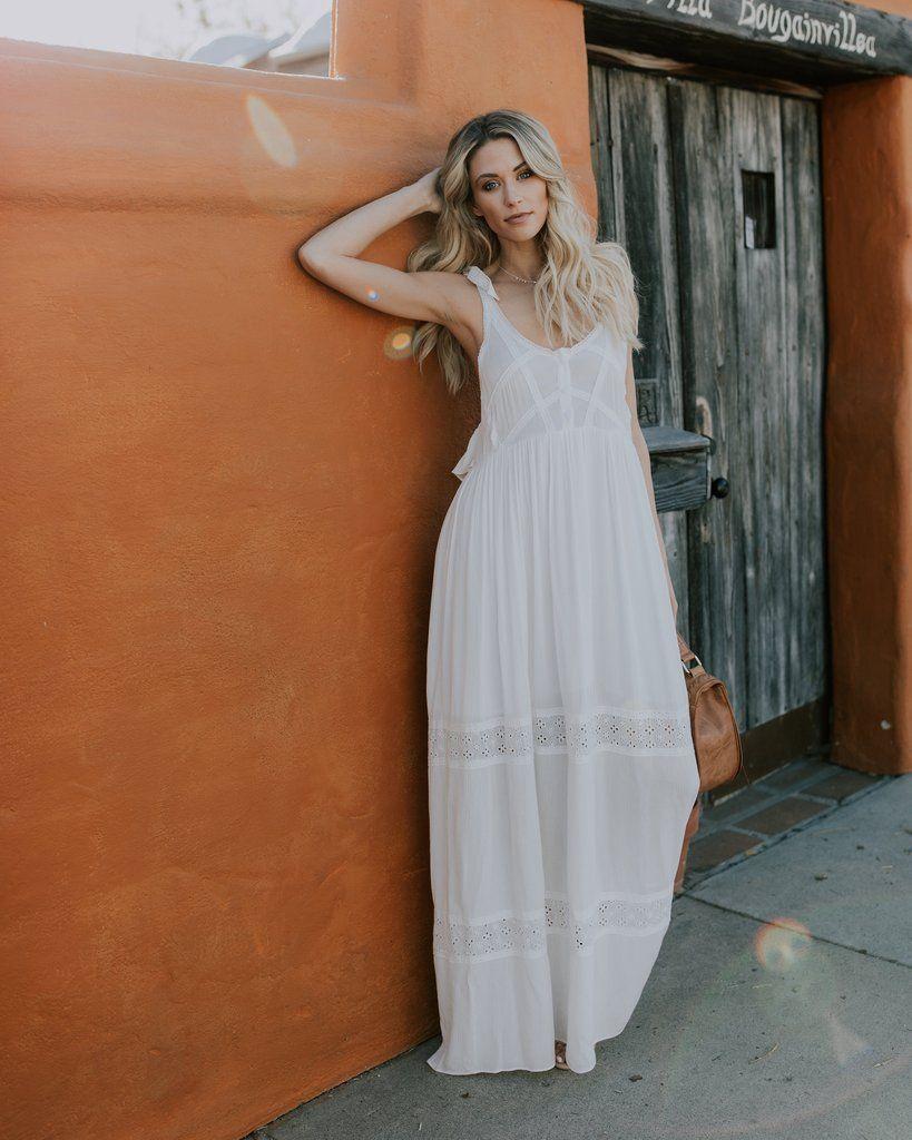 5b8b67dcf7842 Love Happy Adjustable Tie Eyelet Maxi Dress Semi Formal Dresses, Final  Sale, Maternity Dresses
