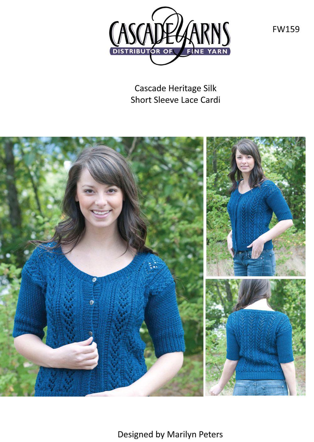 Sleeved lace cardi in cascade heritage silk short fw159 sleeved lace cardi in cascade heritage silk short fw159 knitting patterns loveknitting bankloansurffo Gallery