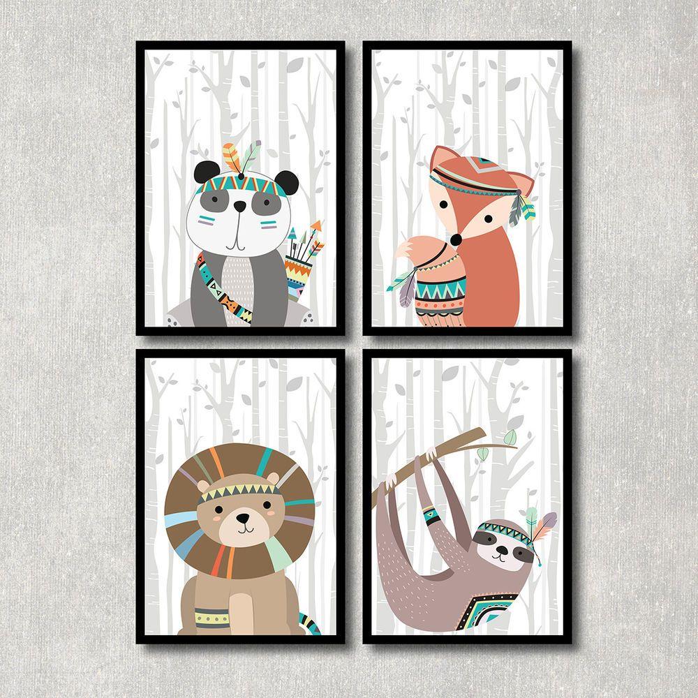 Bild Set Tiere Kunstdruck A4 Panda Fuchs Löwe Murmeltier