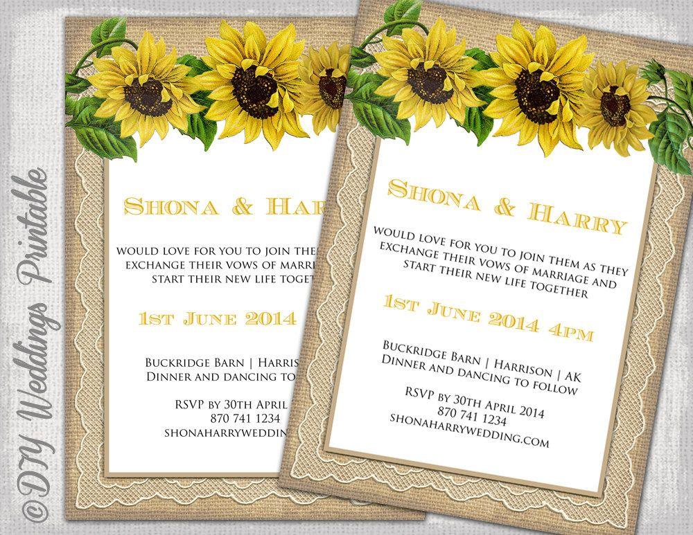 Sunflower Wedding Invitation Template By Diyweddingsprintable 8 00 Wedding Invitation Templates Rustic Wedding Invitation Templates Fun Wedding Invitations