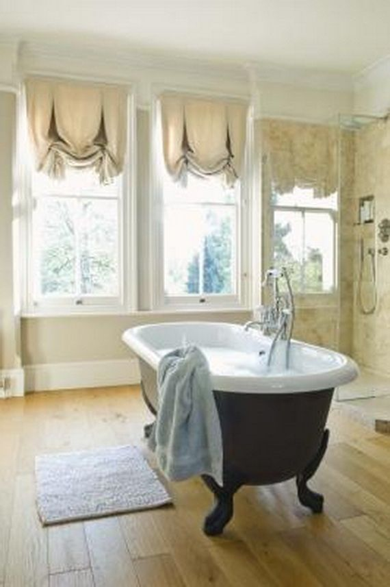Gallery Website Modern Bathroom Window Curtain Ideas with oil rubbed bronze clawfoot bathtub and hardwood floors