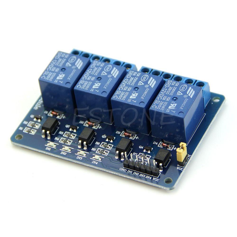 12 V 4 Canali Modulo Relè con Accoppiatore Ottico PIC/AVR/51/ARM per Arduino Singolo Chip