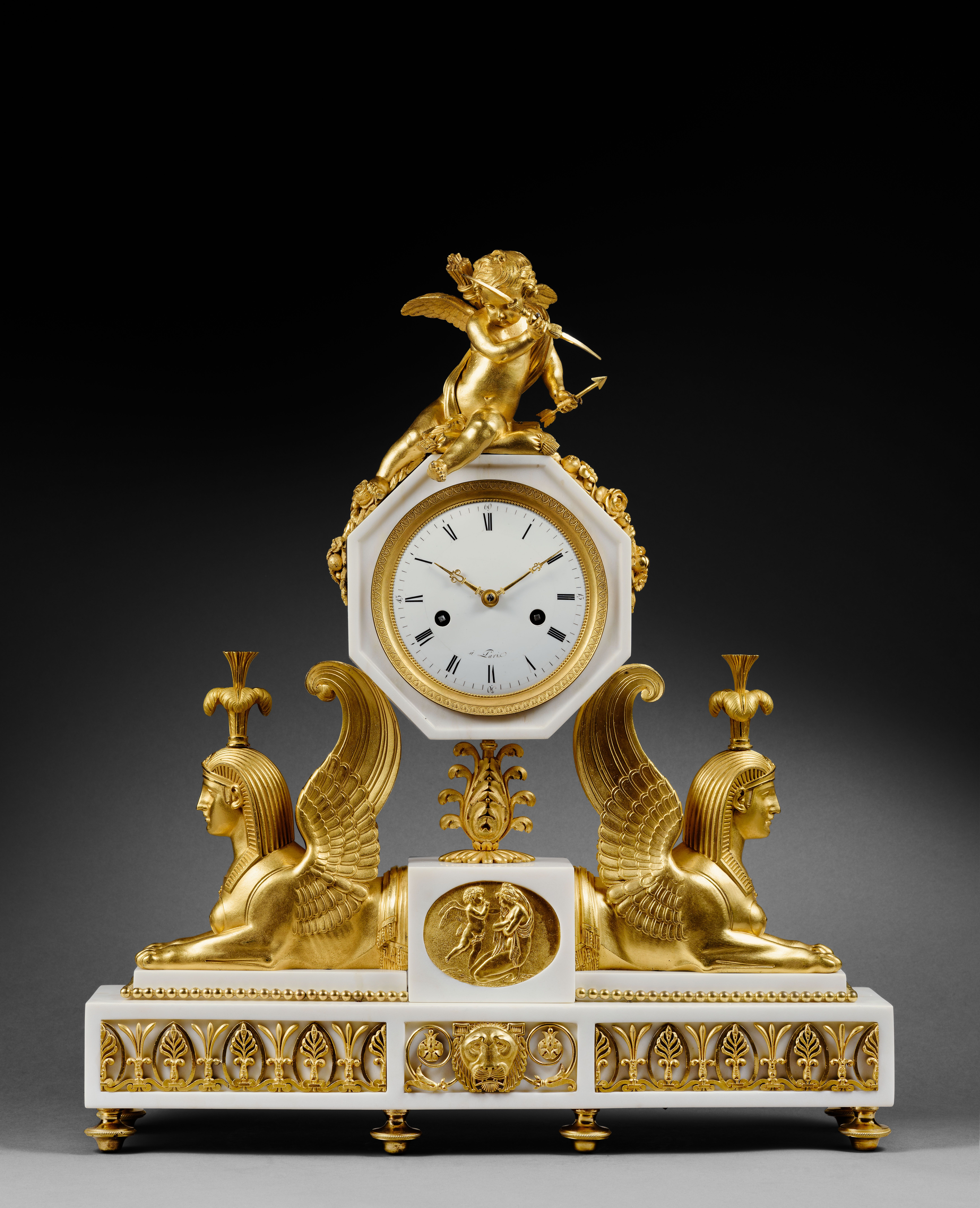 Attributed To Pierre Gouthiere Important White Marble And Gilt Bronze Sphinx Mantel Clock Paris Late Louis Xvi Peri French Antique Clocks Antique Clocks Clock