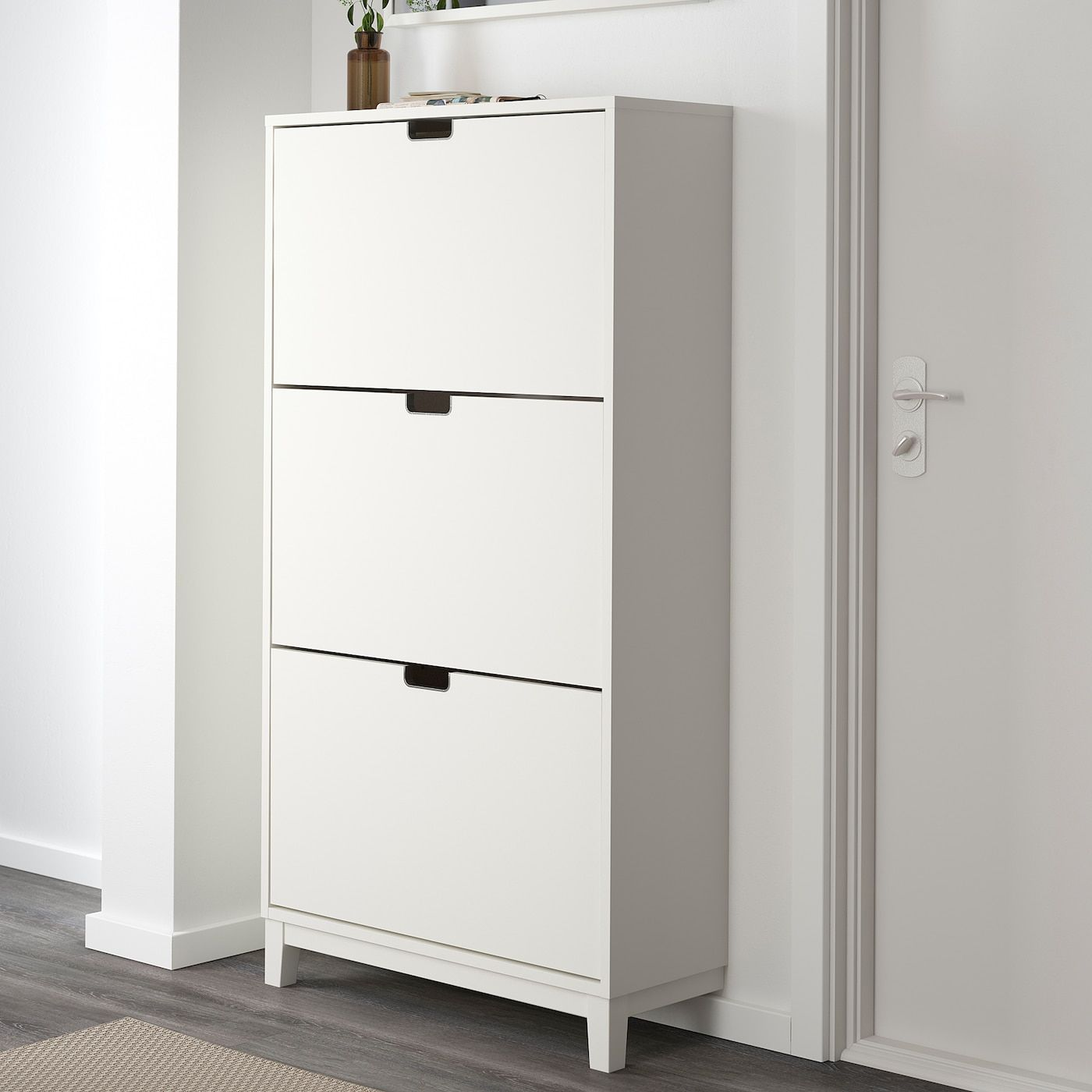 Stall Shoe Cabinet With 3 Compartments White 31 1 8x58 1 4 In 2020 Shoe Cabinet Cabinet Ikea
