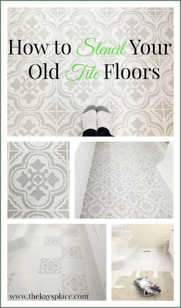 How I Painted And Stenciled My Old Outdated Tile Floor | Pinterest    Vloeren En Badkamer