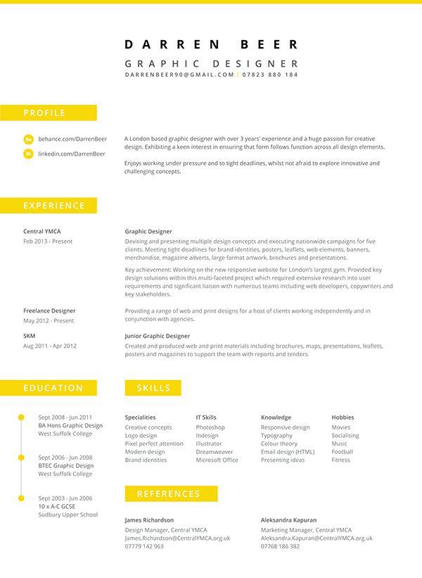 Great Resume Design Darren Beer Cv On Behance Designspiration