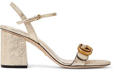 90a27d974d7 Gucci - Marmont Logo-embellished Metallic Cracked-leather Sandals -  Gucci   ShopStyle