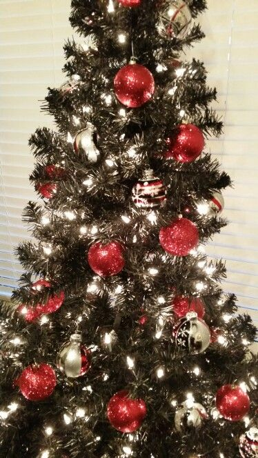 Black Christmas Tree With Red And Silver Ornaments Our Christmas