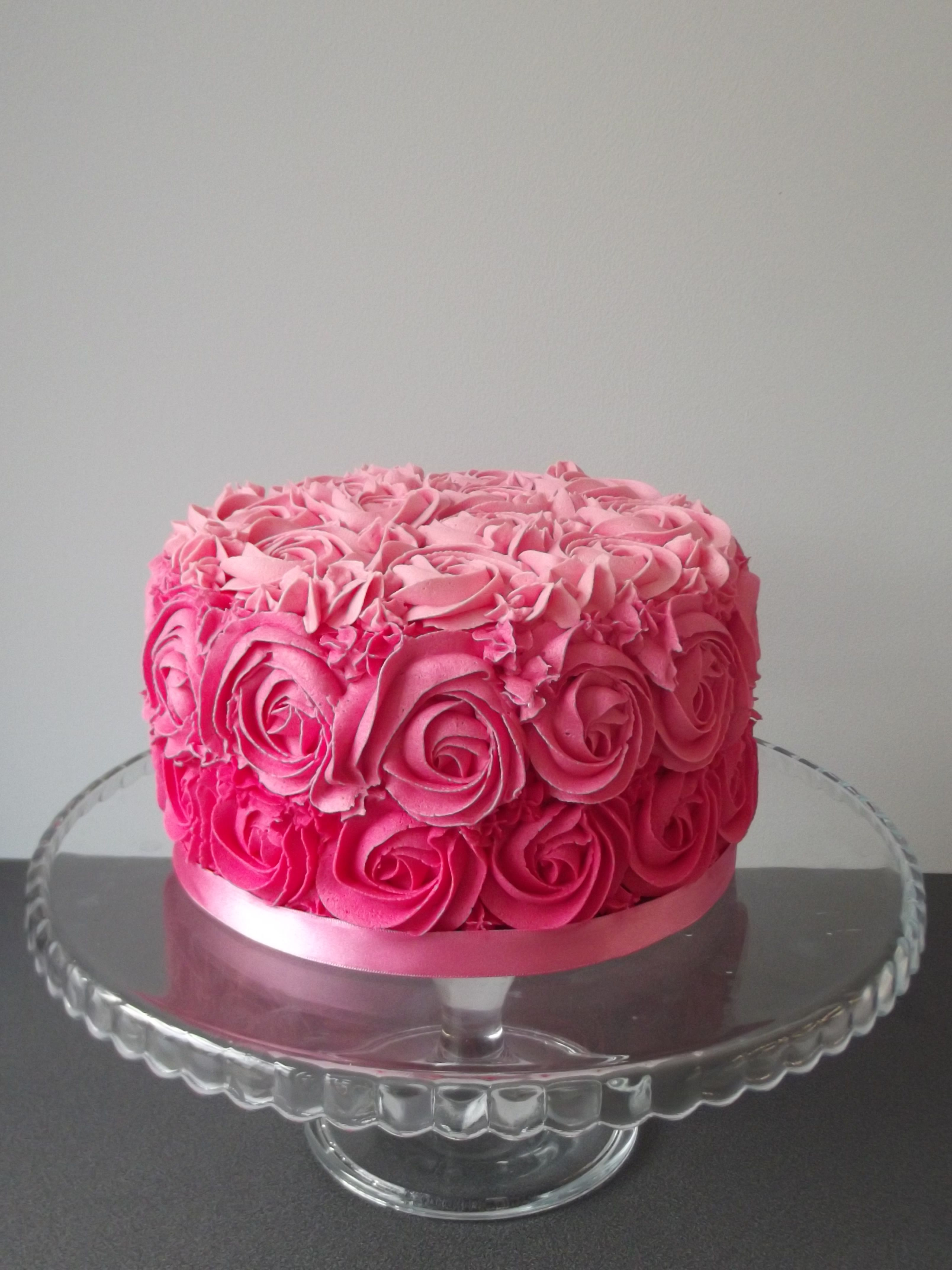 Pink Rose Ombre Cake Birthday Cakes For Women Pinterest Pink