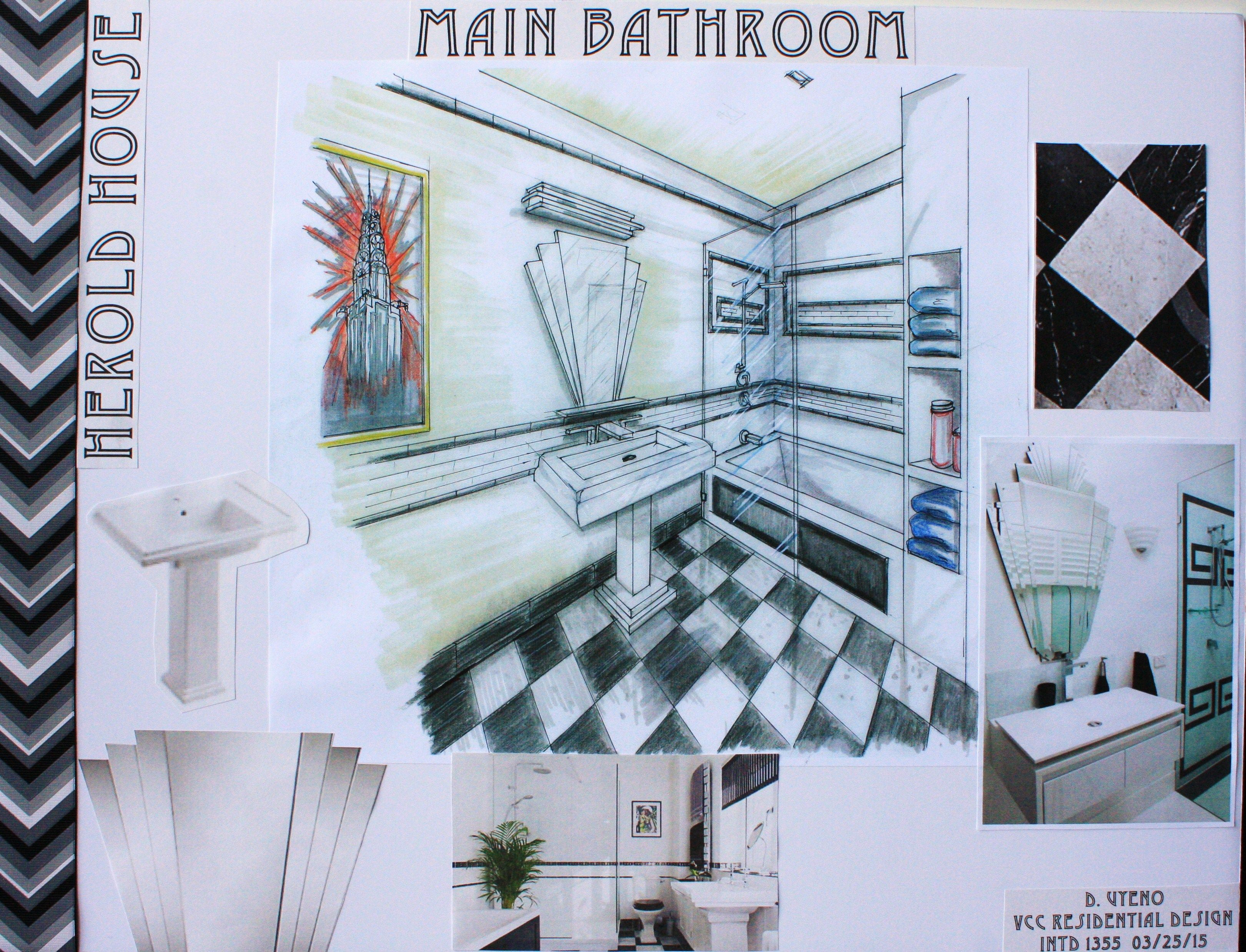 Main Bathroom board for VCC Residential Design Rendered perspective