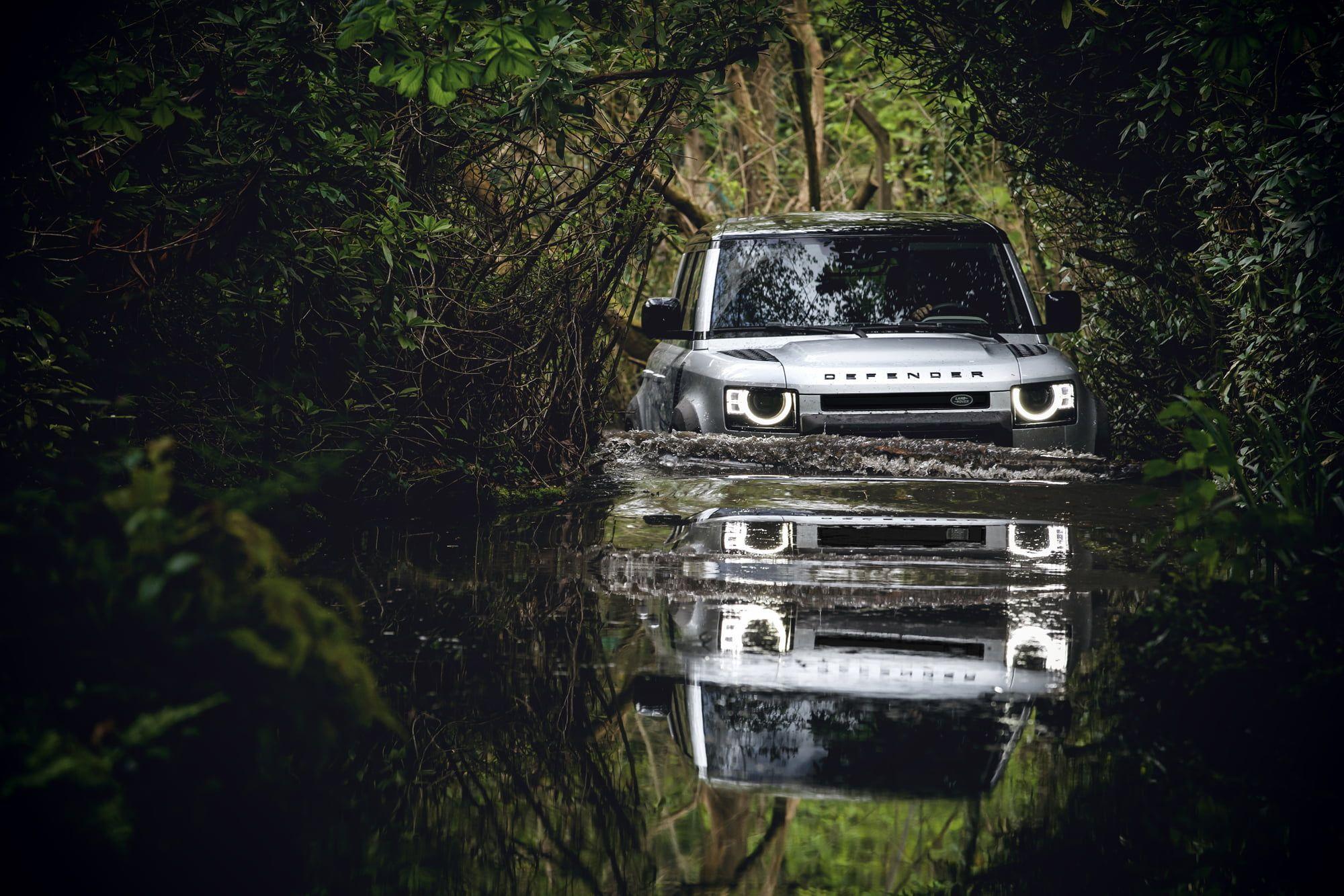 Land Rover Defender 2020 Adventure Time Forest Nature Water 1080p Wallpaper Hdwallpaper Desktop Land Rover Defender Land Rover New Defender