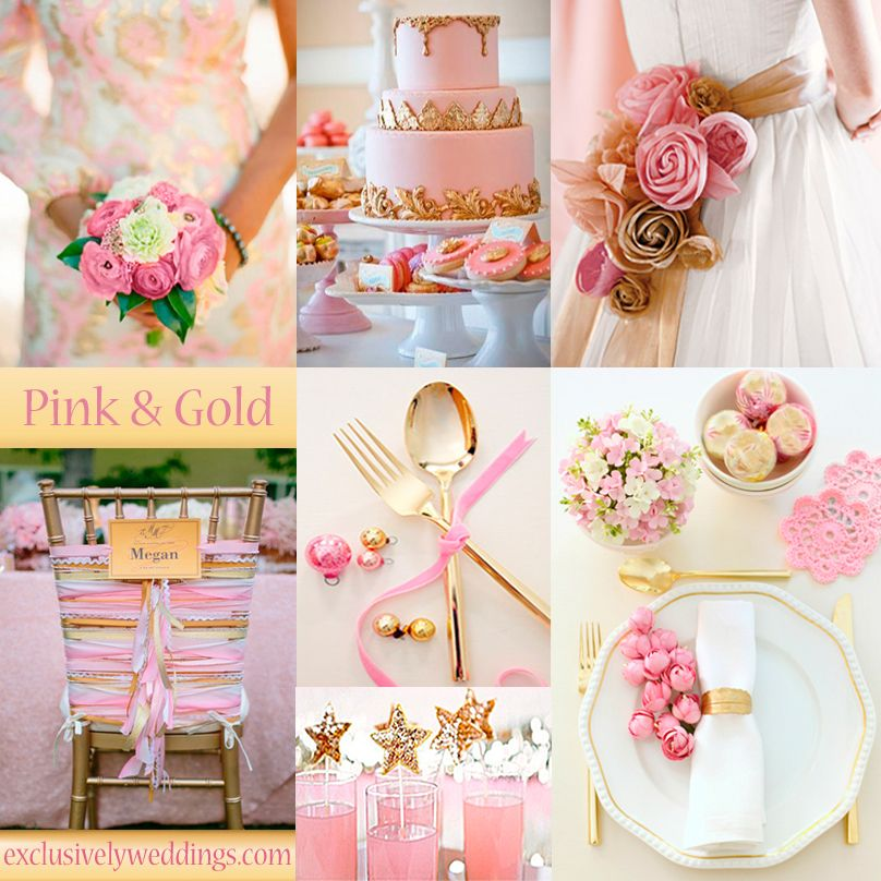 Pink and Gold Wedding Colors - #exclusivelyweddings.com -  Pink and Gold has an opulent, glamorous appearance. It works for spring, summer and winter weddings. | #exclusivelyweddings