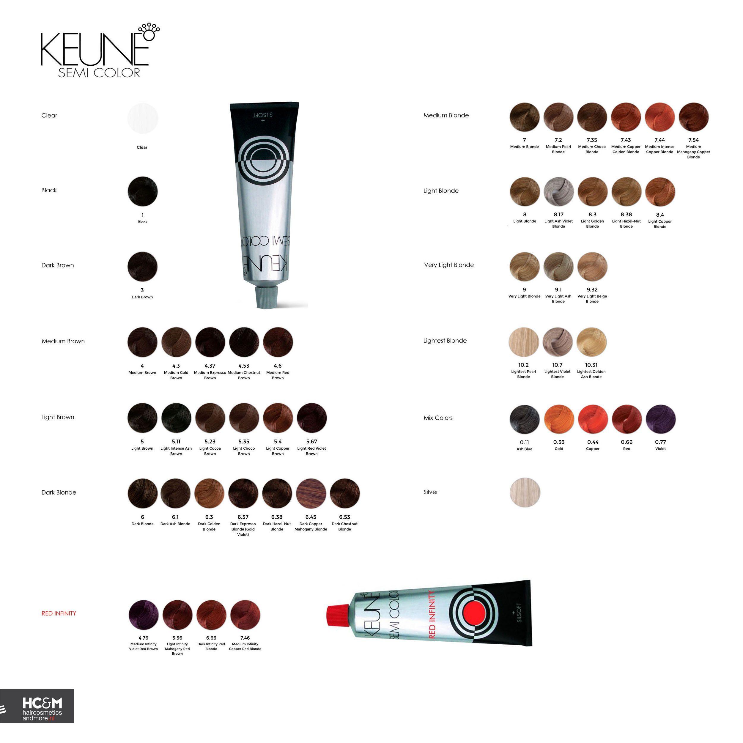 Keune Semi Color Shade Palette 2015 Hair Color Chart Hair Color Formulas Hair Color Swatches