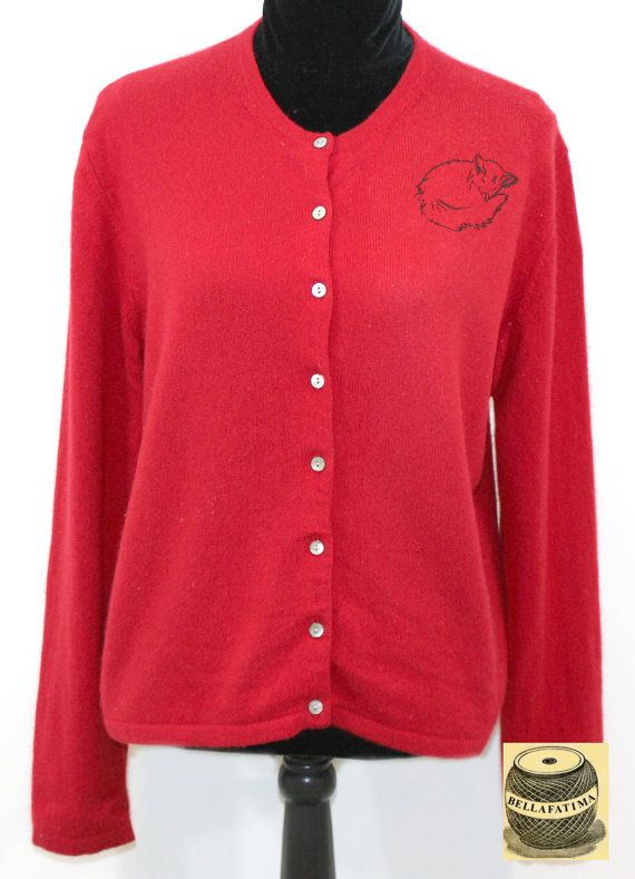 Red cashmere cardigan embroidered with sleeping fox by Bellafatima